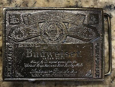 Vintage Budweiser Beer Label Belt Buckle Wyoming Studio Art Works