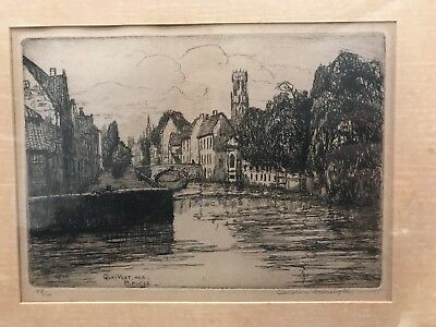 Caroline Armington 15X19 Framed Etching —Quai Vert No.2 Bruges SIGNED
