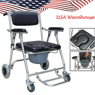 Mobile Aluminium Padded seat Commode Chair 4 brakes Wheels Footrests Wheel chair