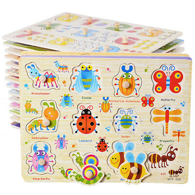 Montessori Early Educational Hand Grab Board Jigsaw Wooden Puzzle Baby Toys