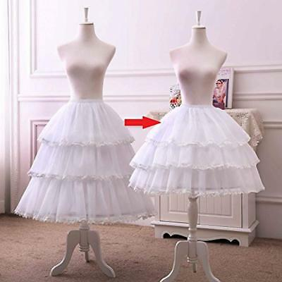 Womens White 3 Hoop Petticoat Skirt Lace Lolita Underskirt  Crinoline Adjustable