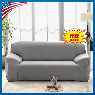 Solid Modern Stretch Chair Sofa Cover Armchair Couch Elastic Slipcover GRAY