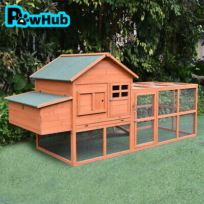 Extra Large Wooden Chicken Coop Rabbit Hutch Hatch Box With Run