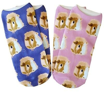 TWO PAIRS of Guinea Pig Faces Ankle Sock Set Pink / Corn Blue