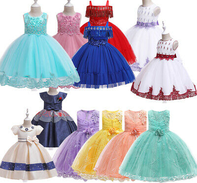 Girls Dresses Princess Party Pageant Formal Wedding Bridesmaid Flowers Maxi Gown
