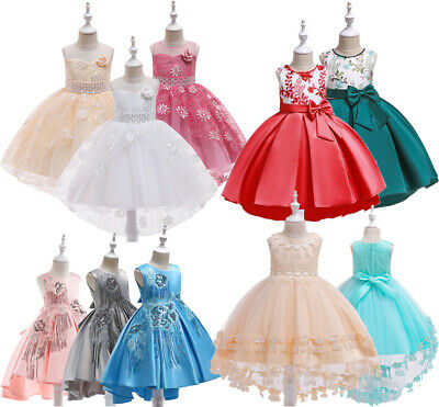Girls Dresses Princess Party Wedding Bridesmaid Toddler Lace Flowers Hi-low Gown
