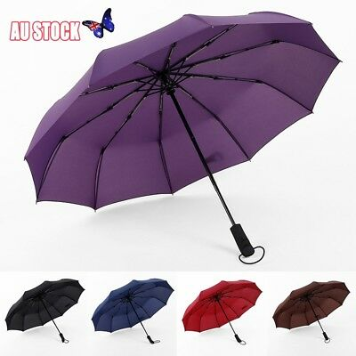 Compact Umbrella Automatic 3 Fold Windproof Strong Travel Wind UV Resistance NEW