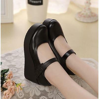 48ce080544b Mary Jane Womens Black Leather Round Toe High Wedge Heel Pumps Nurse comfy  Shoes