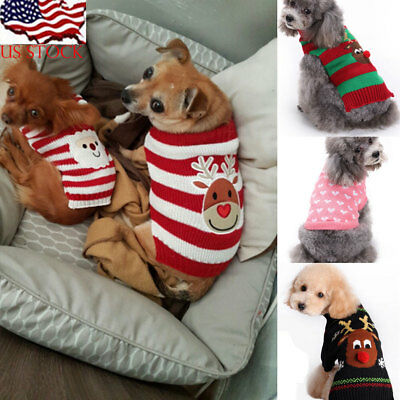 Hot Sweater Dog Clothes Christmas Knitted Jumper Apparel For Small Large Dog US
