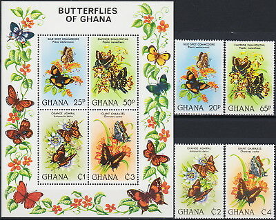 Ghana Set & S/S Local Butterflies 1982 MNH-31 Euro