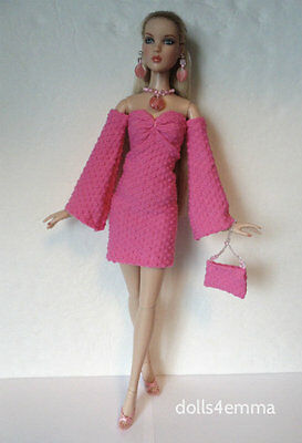 CAMI & ANTOINETTE clothes Handmade DRESS + THIGH HIGHS + JEWELRY Fashion NO DOLL