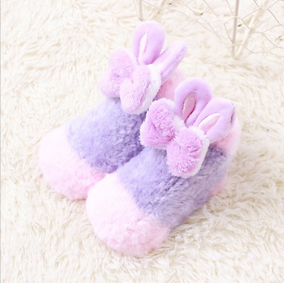 Cute Baby Toddler Kid Girl Winter Warm Bowkont Soft Fluffy Anti-slip Socks Shoes