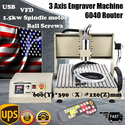 USB 3 Axis 6040 CNC Router Engraver 1.5KW Spindle Milling 3D Cutting Carving +RC