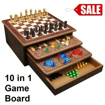 Wooden Board Game Set 10in1 Snakes Ladders Chess Checkers Adult Children NEW