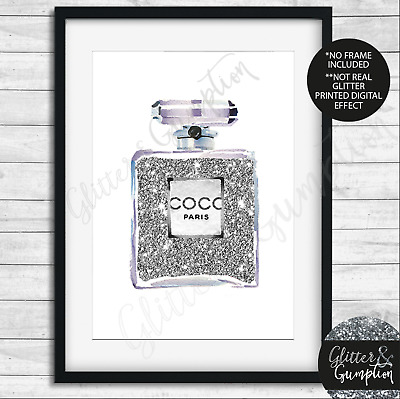 Fashion Art Iconic Perfume Bottle Silver Home decor beauty room art print