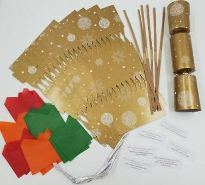 12 x Make Your Own Christmas Cracker Kit Makes  Crackers Hats Snaps Jokes Gold