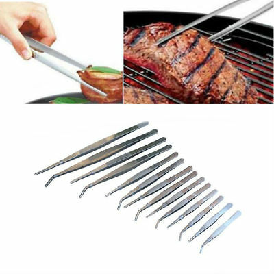 Stianless Steel Long Food Tongs Straight Elbow Tweezers Kitchen Chef Food Silver