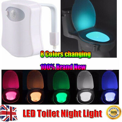 LED Toilet Bathroom Night Light PIR Motion Activated Seat Sensor 8Color Changing