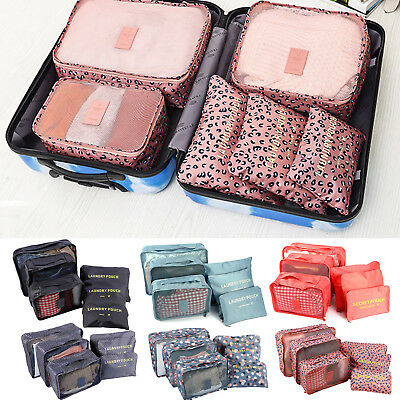 6Pcs Travel Storage Bag for Clothes Luggage Packing Cube Organizer Set Suitcase