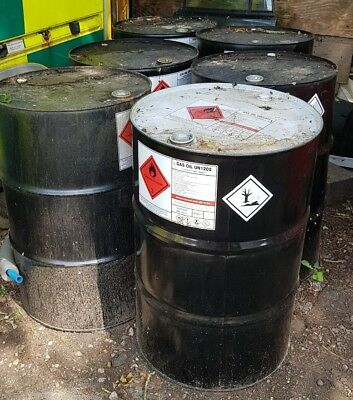 EMPTY OIL BARREL DRUMS x 5, 205 LITRES, 45 GALLON - Used