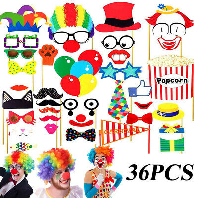36pcs Photo Booth Party Props Funny Circus Clown Kids Adult Party Selfie Decor