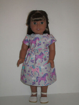 """Unicorn/Pink & Purple/Gray Dress for 18"""" Doll American Girl Doll Clothes"""
