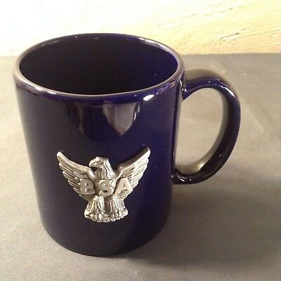 ~ Boy Scouts of America Cobalt Blue Coffee Mug with BSA Eagle Pewter Emblem