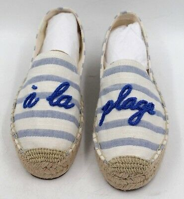 3bee1656a SOLUDOS Women A La Plage Smoking Slippers Espadrille Size 6 Natural Blue  Canvas