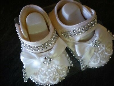 Romany blinged Silk baby Christening Shoes - with diamantes