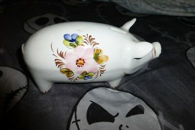 Pig Bank Hand Painted Flowers Gorgeous