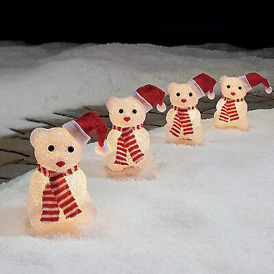 CHRISTMAS BEAR PATHWAY MARKERS Walkway Yard Lights Holiday Decoration SET OF 4