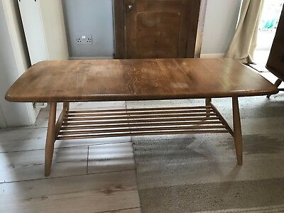 Vintage Ercol solid Elm & Beech blond coffee table with magazine rack