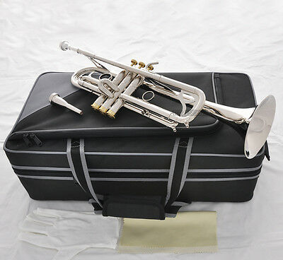 Prof Silver Nickel Plated Trumpet JINBAO Bb horn 2 Mouthpiece With Case