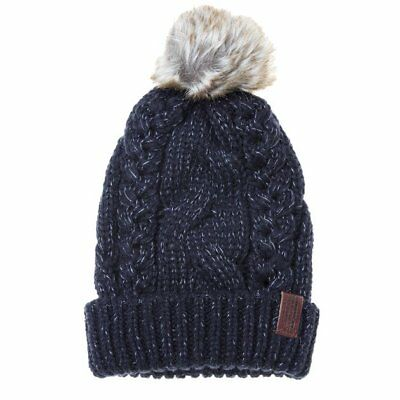 New Womens Superdry Navy North Cable Acrylic/Polyester Beanie Beanies