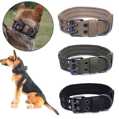 Tactical Military Adjustable Dog Training Collar with Metal Buckle for M L Dog E