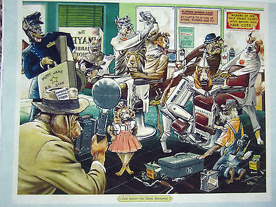 "Rare Vintage Barbershop Dogs Litho Color Sign WIZARD OF OZ ""DRESS REHEARSAL"""