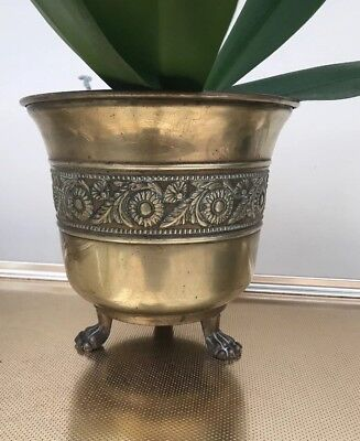 Vintage Brass Planter Plant Pot Holder Jardiniere Made In England Daisy Pattern