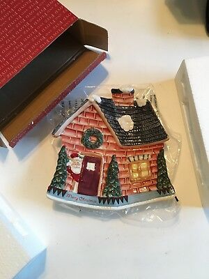 Fitz And Floyd Fireplace Santa Cookie Plate 2005 ~BRAND NEW~