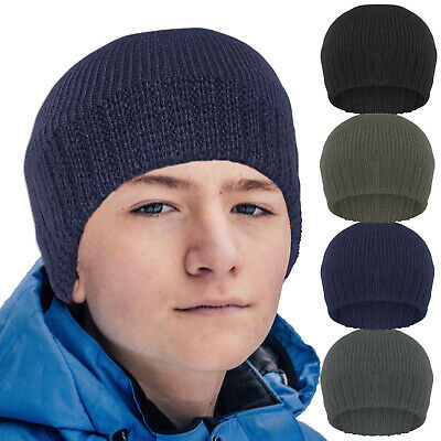 Boys Thinsulate Fleece Lined Thermal Winter Beanie hat School & Outdoor pursuits