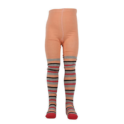 Girls Cotton Fine Knit Footed Tights- Peach (2T-7Y