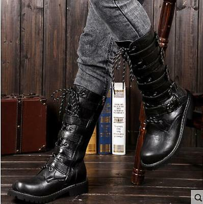 Mens Buckle Mid Calf Boots Military Combat British High Tops Motorcycle Shoes