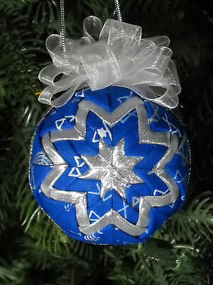 Quilted Hanukkah Ornament Handmade Blue and Silver One of a Kind #2