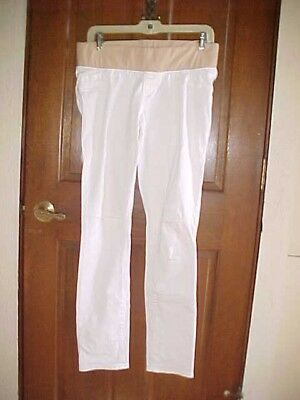 Old Navy Skinny Low Panel Maternity White 10 R Stretch Pants Slacks EUC