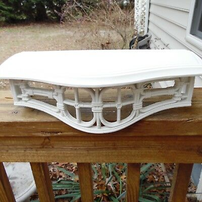 Vintage Home Interiors Homco #3067 Wall Shelf White Wicker Look Decor USA