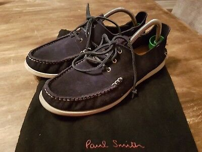 4bea0a3d02a Paul Smith Jeans Blue Suede Italian Moccasins Deck Boat Shoes Uk Size 7 Rrp  £175