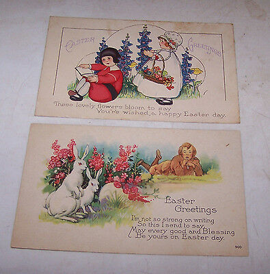 2 Antique Vintage EASTER Postcards - Bunny Rabbits Children Flowers