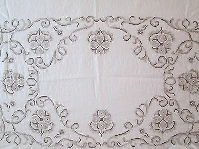 Tablecloth Linen Embroidered Cross Stitch Vintage 1960's 46 x 62 Scalloped Edge