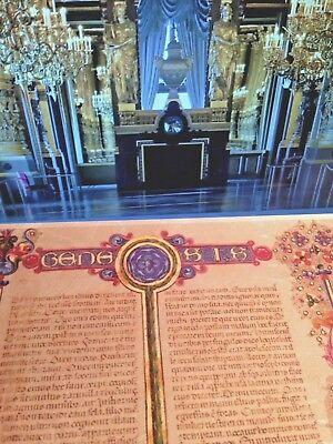 Bible Borso d'Este- Manuscript Genesis- GOLD aCCENTS New.. CHRISTMAS DISCOUNT