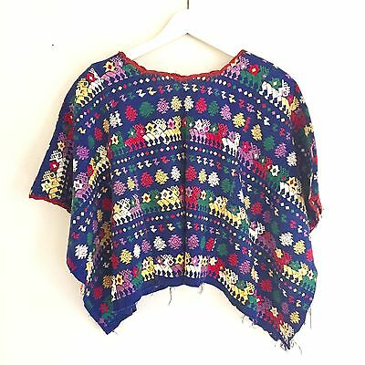 Vintage Guatemala Tactic Huipil Blue With Multi Color Pattern