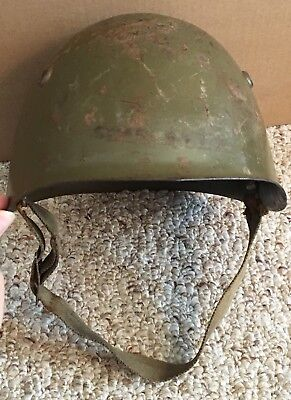 WWll  Era Italian M33 Steel Combat Helmet Linear & Post War Strap Original Paint